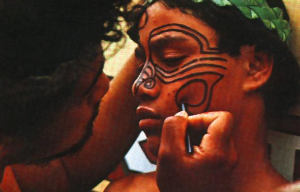 MAORI ART TODAY A Maori gets his face tatooed with paint